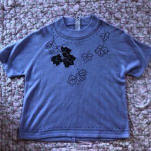 Ultra Soft Purple vintage sweater black leaves